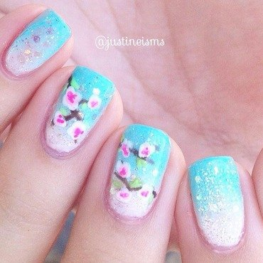 Cherry Blossoms nail art by ℐustine
