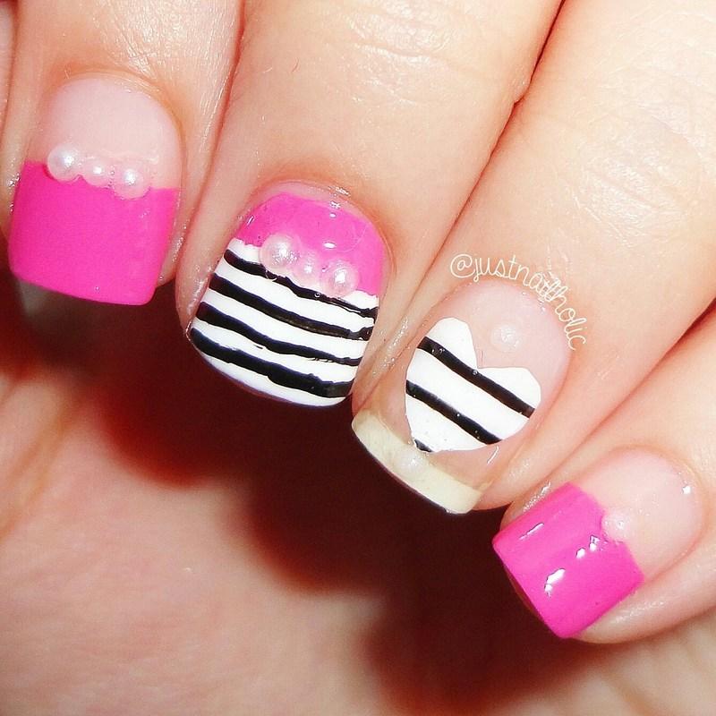 Heart & Stripes! nail art by Melany Antelo
