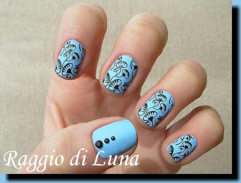 Stamping: Black flowers on matte light blue nail art by Tanja
