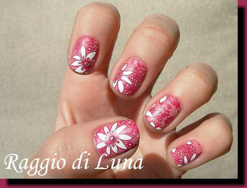 Stamping: Spring floral stamping manicure nail art by Tanja