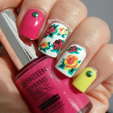 Pink and Yellow Roses nail art by WithnailsandI