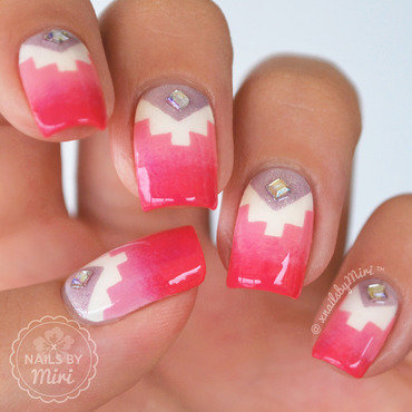Girly Pink Purple Tetris Nails nail art by xNailsByMiri
