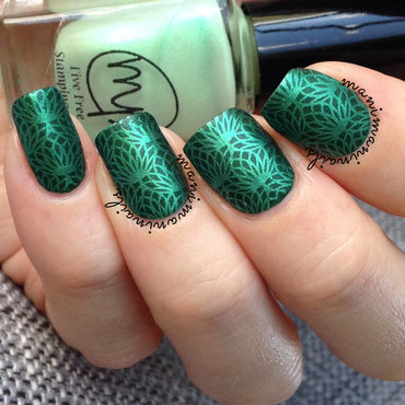 Green on green stamping nail art by manimaninails