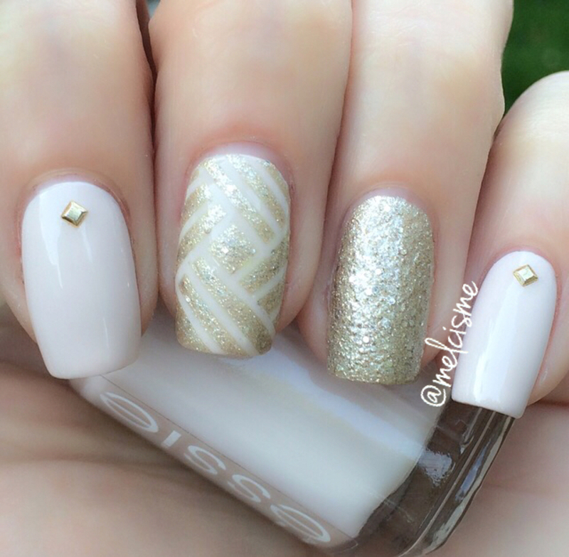 Basket weave tape design nail art by Melissa