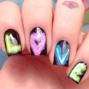 Neon love nail art by Talia  Louise
