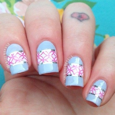 Print and striping tape design nail art by Talia  Louise
