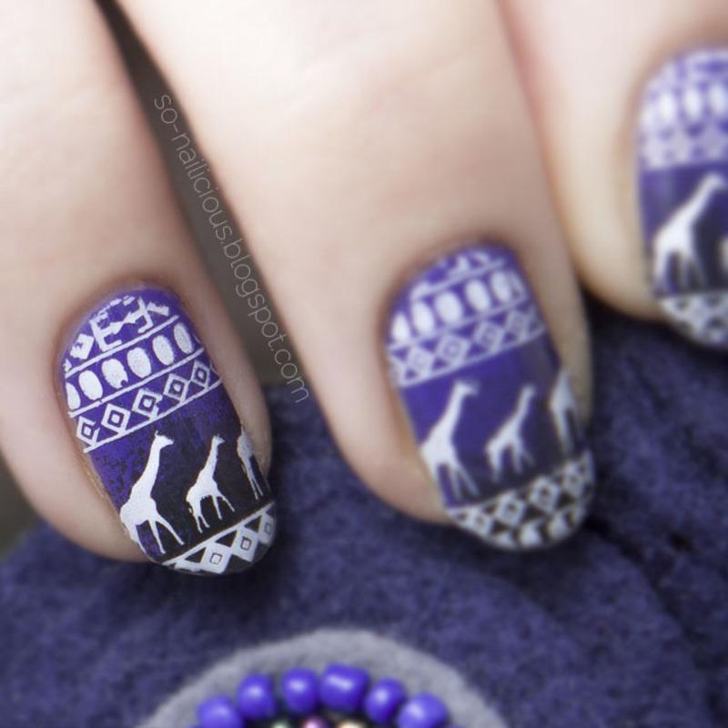 Giraffes nail art by Magdalena