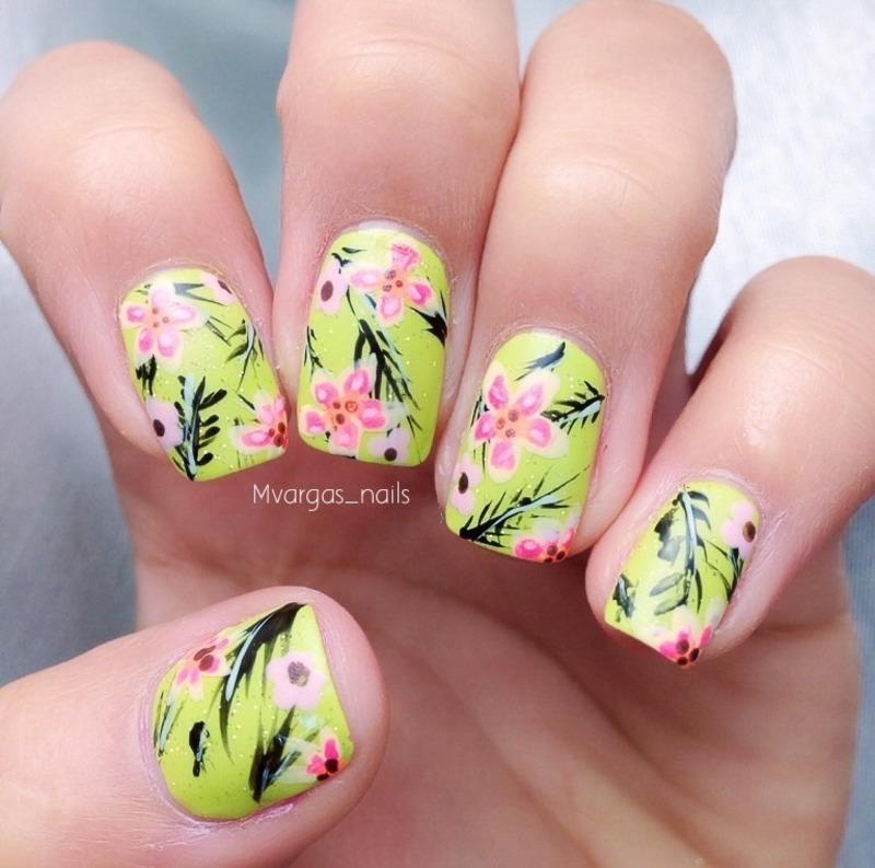 Tropical nails nail art by Massiel Pena
