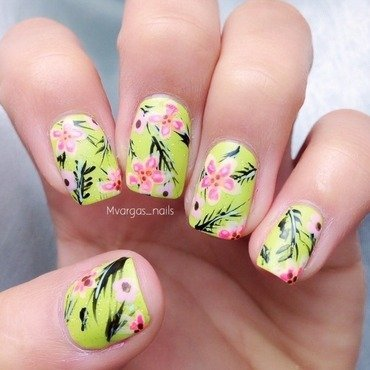 Tropical nails nail art by Massiel Pena