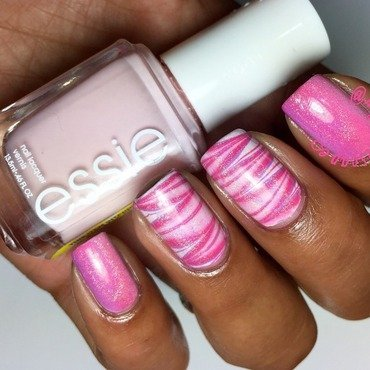 Pink WaterMarble & Gradient nail art by Alayna  B