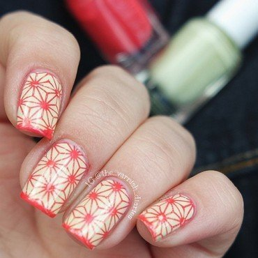 Asanoha Stamping nail art by Jenny