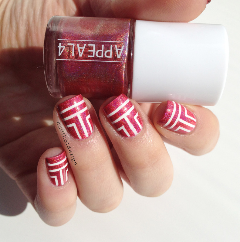 Red holo stripes...  nail art by NailThatDesign