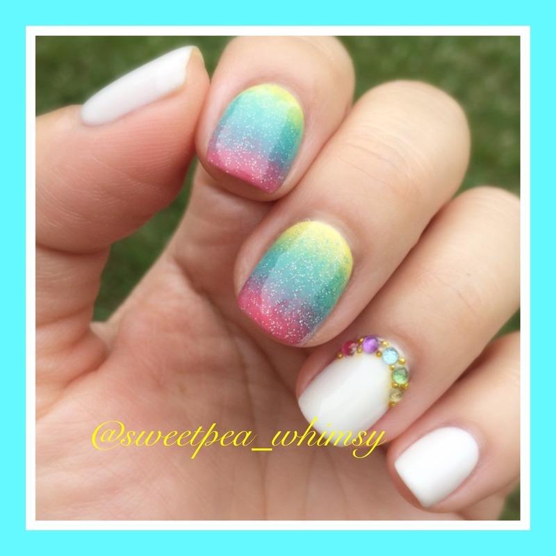 Rainbow Ombré  nail art by SweetPea_Whimsy
