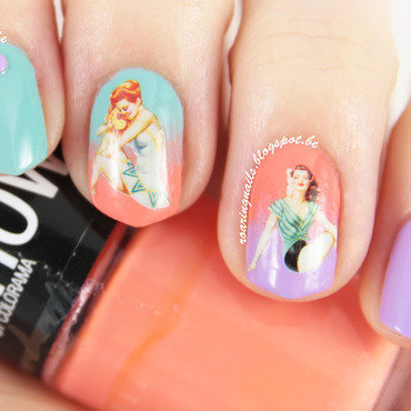 Retro Pin Up Girls with a Gradient! nail art by Robin