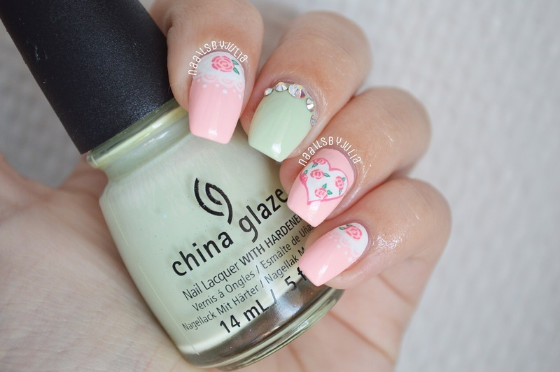 Roses and lace nail art by Julia