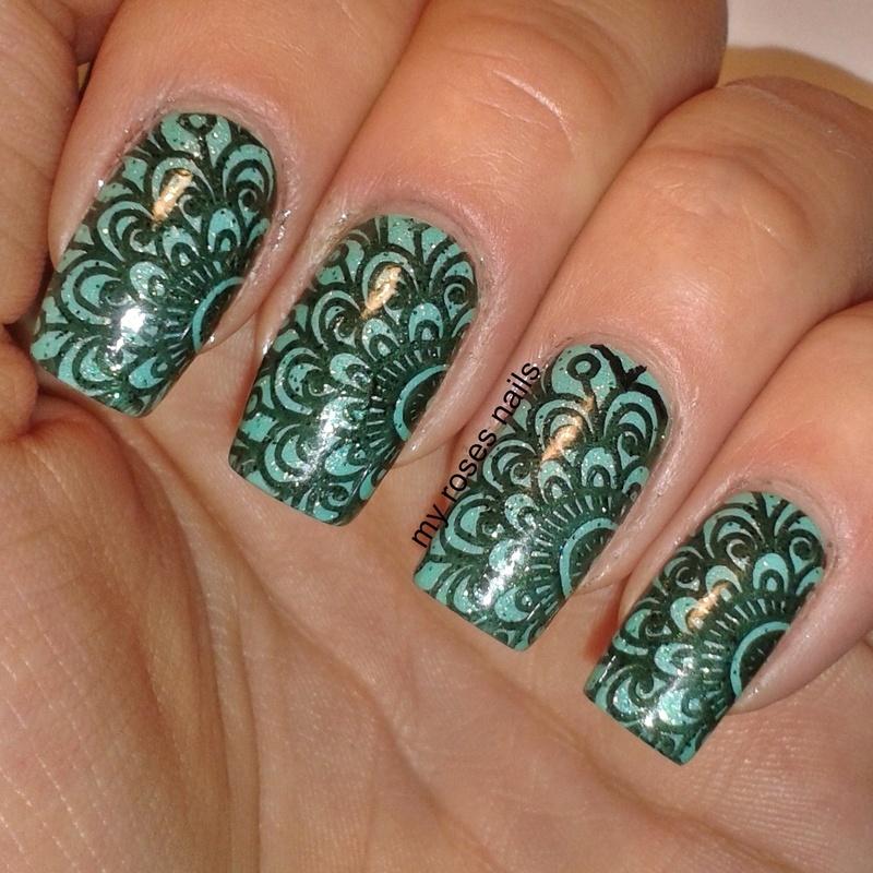 Mint mehendi nail art by Ewa