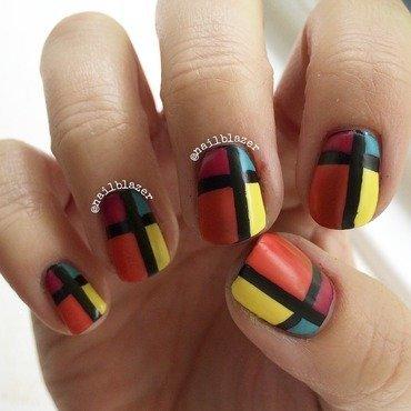 Retro Colour Block nail art by Nailblazer