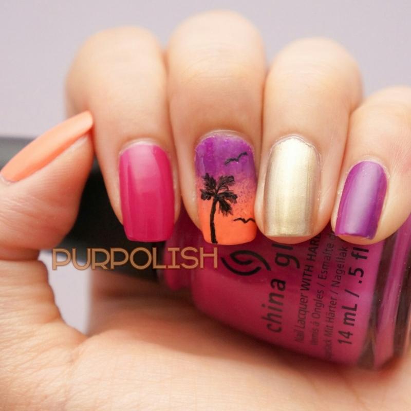 Palm Tree Sunset Nails nail art by purpolish