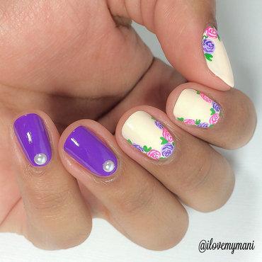 Purple Floral mani! nail art by Gabrielle