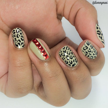 Leopard Print with nail art studs! nail art by Gabrielle