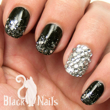 Black and Silver Gothic Winter Nail Art nail art by Black Cat Nails