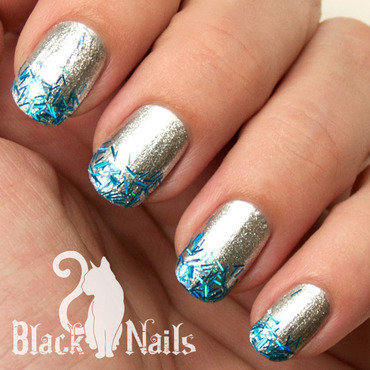 Easy Silver and Blue Winter Glitter Nails nail art by Black Cat Nails