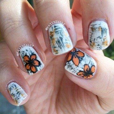 Floral Grunge nail art by Nailblazer