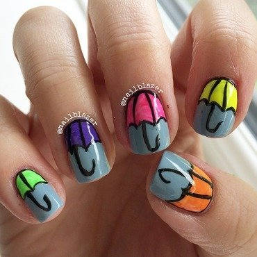 April Showers nail art by Nailblazer
