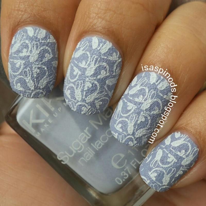 Stamping Bunnies! nail art by Isabel