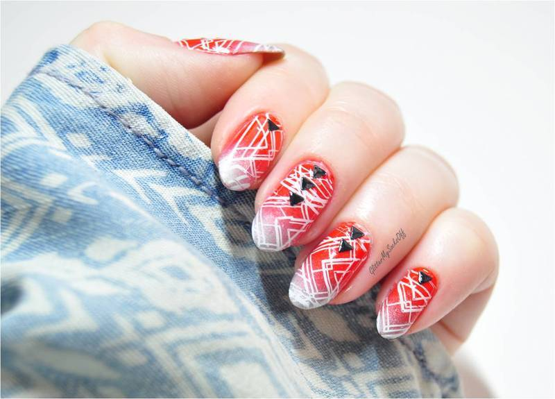 Bloody Geo nail art by GlitterMySocksOff