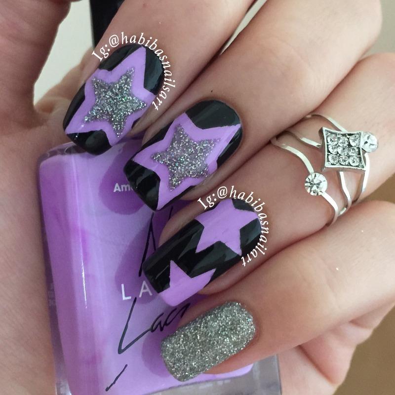 Stars nail art nail art by Habiba  El-kallas