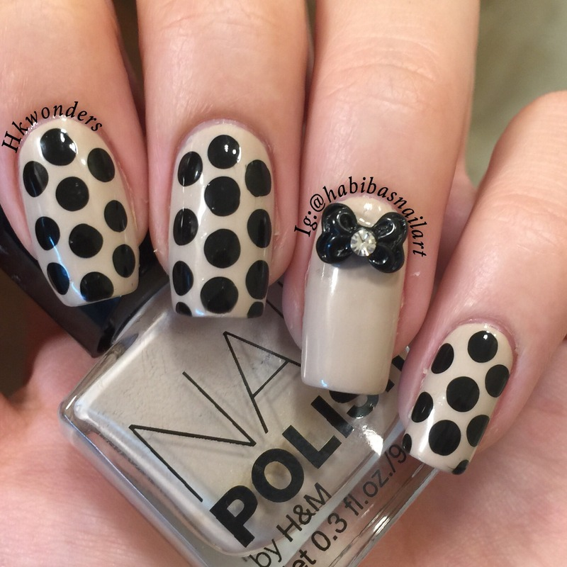 Simple polkadot nails nail art by Habiba  El-kallas