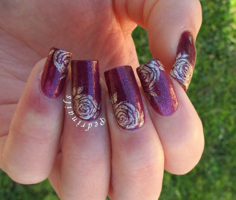 Golden roses on pearly amaranth base nail art by Pedrinails