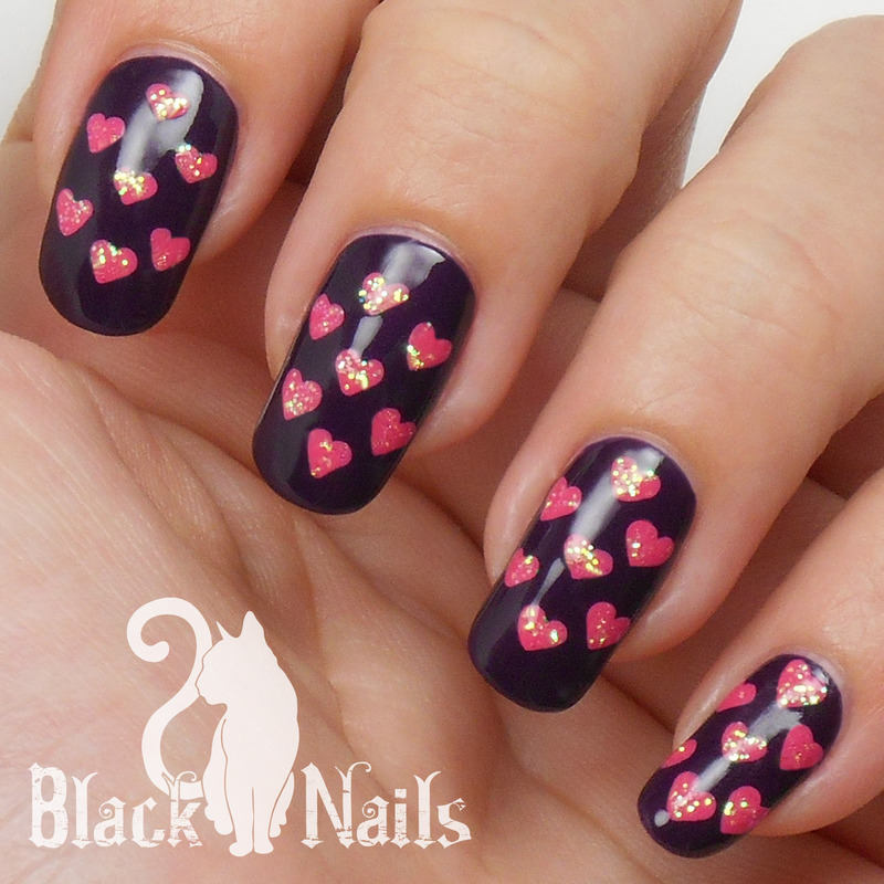 Pink Heart Pattern On Purple Nail Design Nail Art By Black Cat Nails