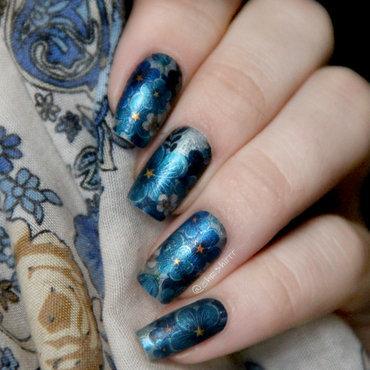 Blue flowers nail art by cheshirrr