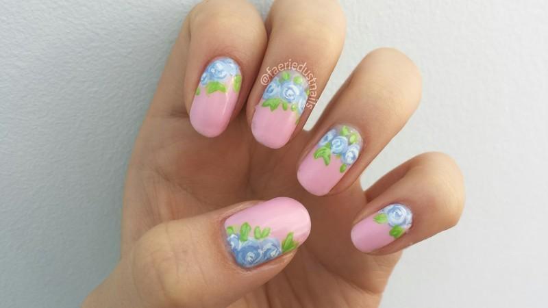Pastel Roses nail art by Shirley X.