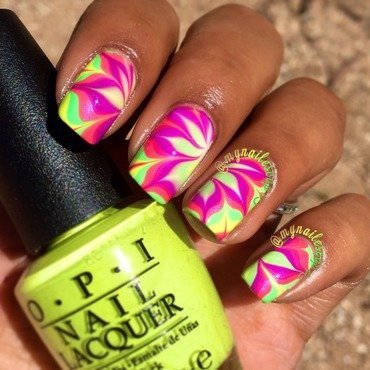 Neon Pointed Flower Watermarble nail art by Alayna  B