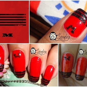 Red Nails Inspired by Big Bang M nail art by Leneha Junsu
