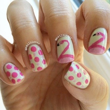 Flamingoes nail art by Nailblazer