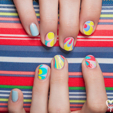 Road Trip Watermarble nail art by Lacquered Obsession
