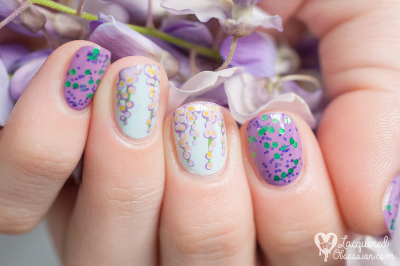 Wisteria Lane nail art by Lacquered Obsession