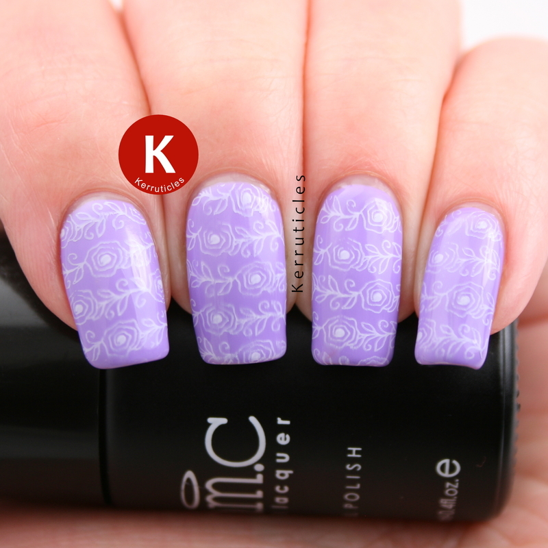 Lilac with stamped fine line roses nail art by Claire Kerr