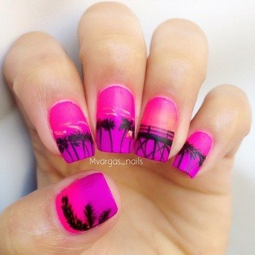 Sunset in paradise nail art by Massiel Pena
