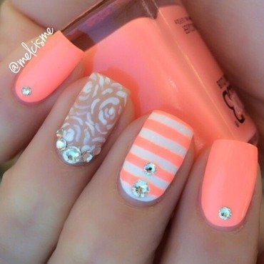 Outline roses & stripes nail art by Melissa
