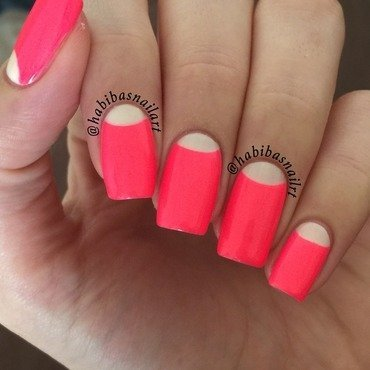 Halfmoon neon nails nail art by Habiba  El-kallas