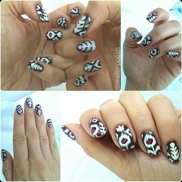 Ikat nail art by Meltin'polish