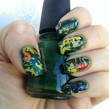 Tropical Jungle nail art by Meltin'polish