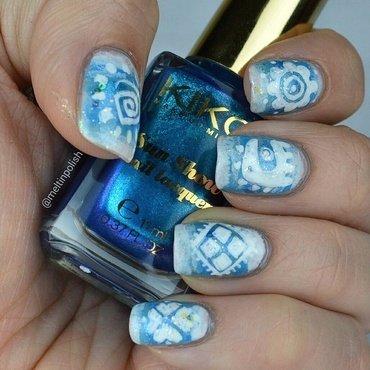 Blue Tribal nail art by Meltin'polish