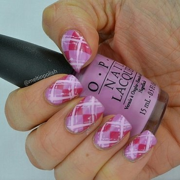 Pink Argyle nail art by Meltin'polish