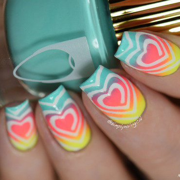 Neon gradient heart swirls nail art by simplynailogical